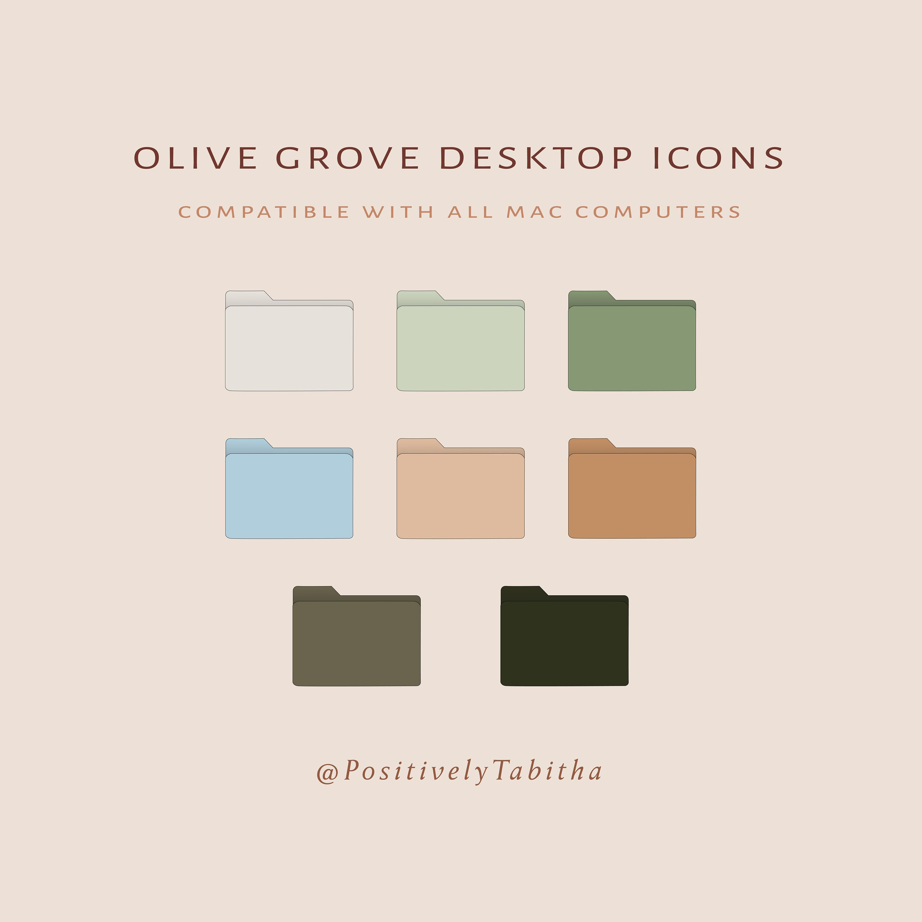 Olive Grove Desktop Icons Instant Download Olive Tone Etsy Desktop Icons Free Desktop Icons Folder Icon