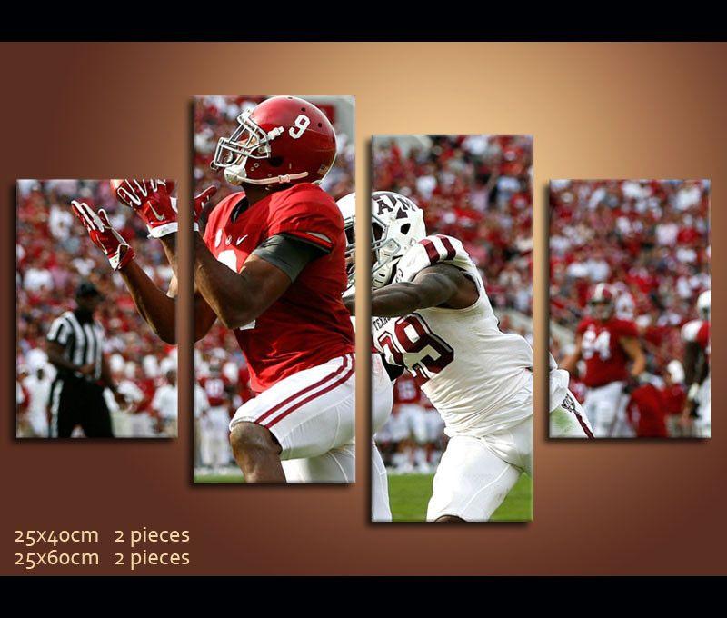 4 Pieces Hd Canvas Prints Football Alabama For Wall Decor