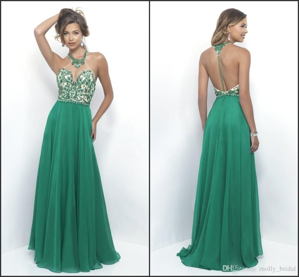 2017 Luxury Beading Crystal Prom Dresses Hunter Green Sexy Halter ...