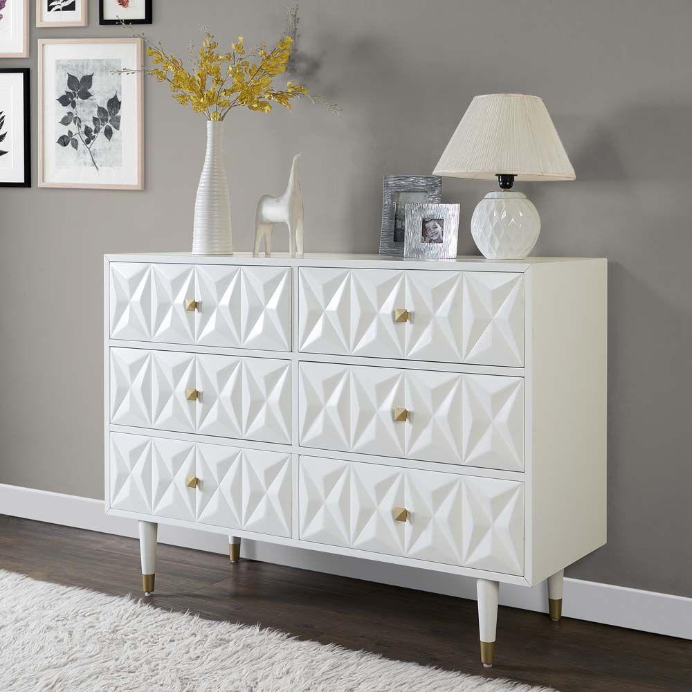 Linon Six Drawer Geo Texture Dresser In White Walmart Com In 2020 White Dresser Dresser Modern White 6 Drawer Dresser