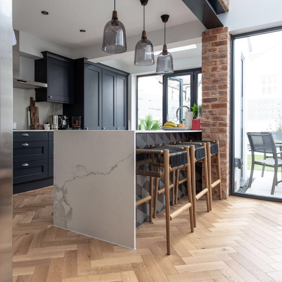 V4 Wood Flooring On Instagram Who S Got Kitchen Envy A Fabulous Kitchen Design Which Featured O Herringbone Wood Floor Dining Room Design Wood Floor Kitchen