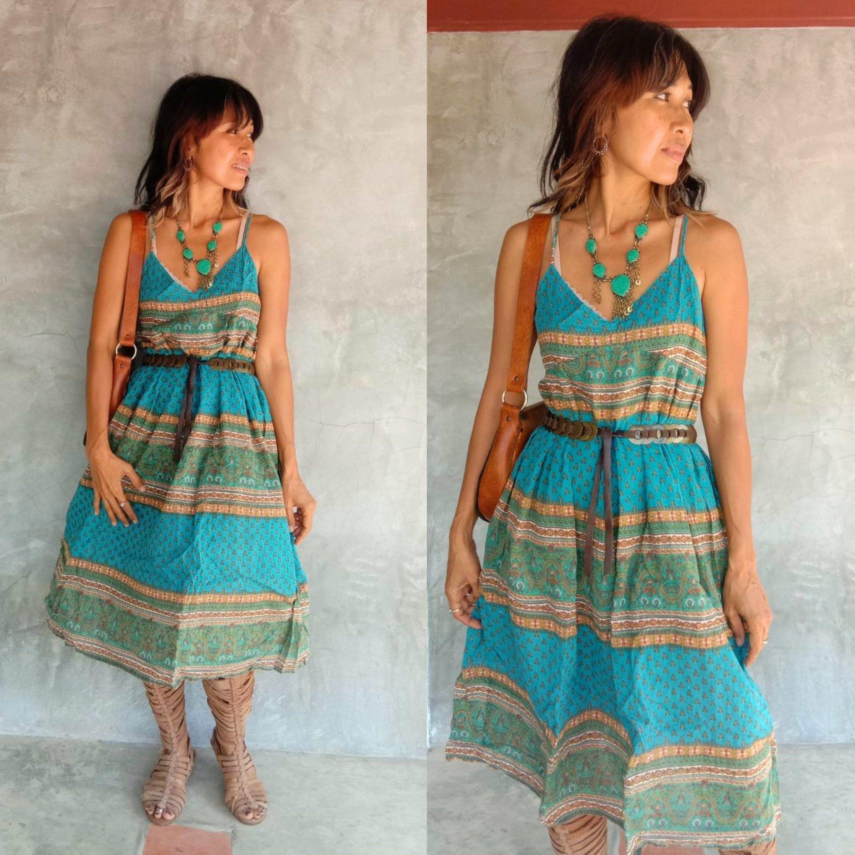 Vintage Indian Gauze Cotton 90s Boho Midi Dress Spaghetti Etsy Boho Midi Dress Dresses Maternity Dresses [ 2800 x 2800 Pixel ]