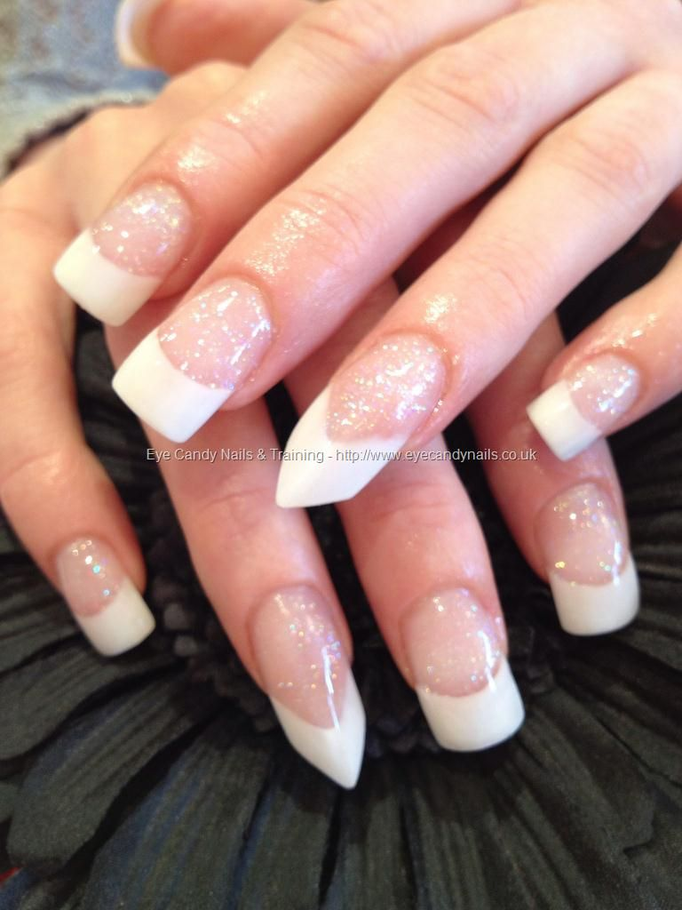 White acrylic tips with edge ring finger...I like this better then ...
