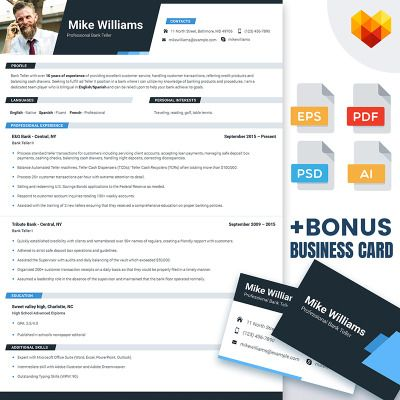 Personal Pages Mike Williams - Resume Template for Bank Teller - teller resume
