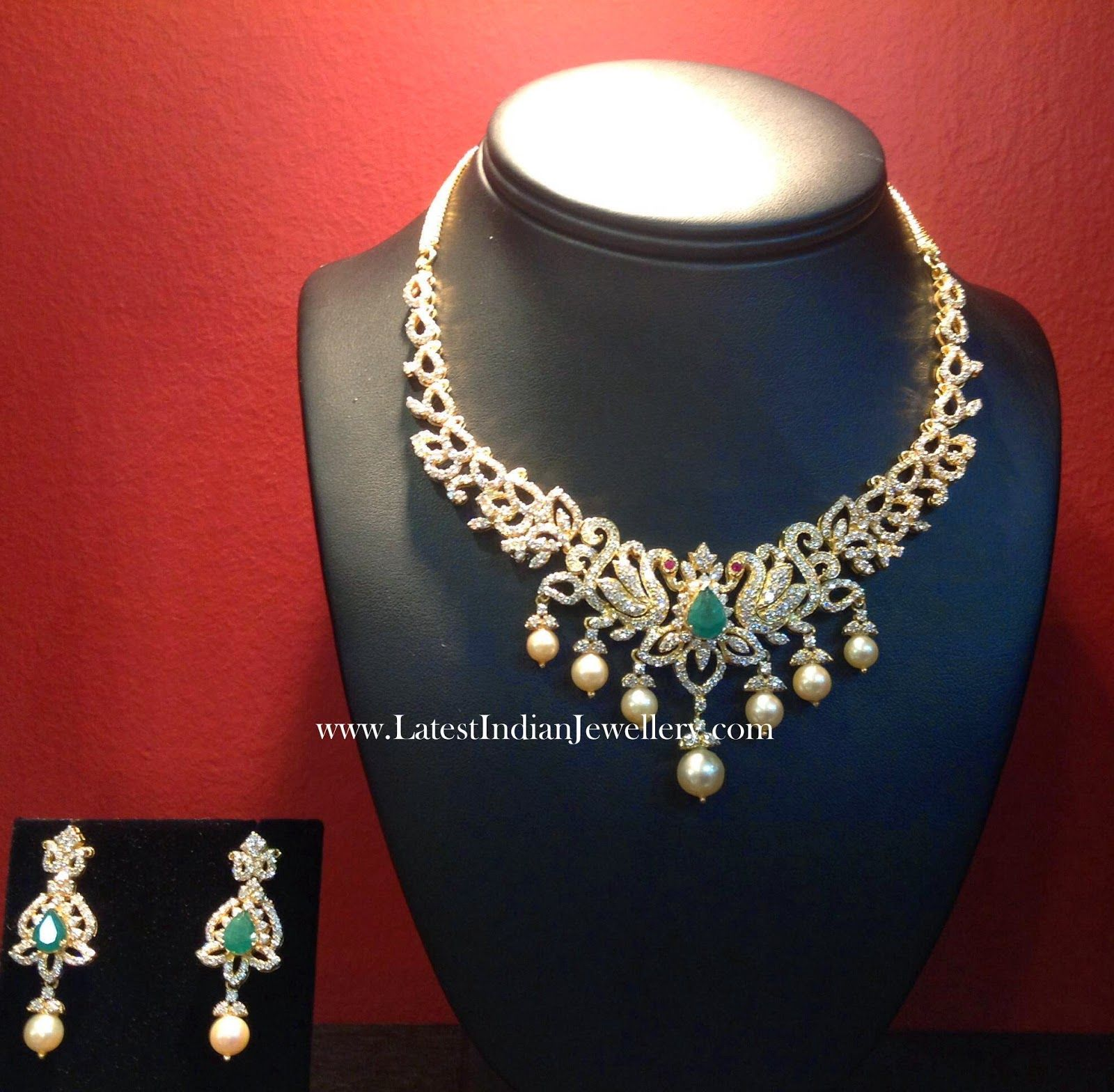 Peacock design diamond necklace set diamond jewellery pinterest