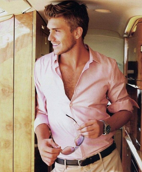 men in pink shirts | Manday: Should my crewneck be peeking out ...