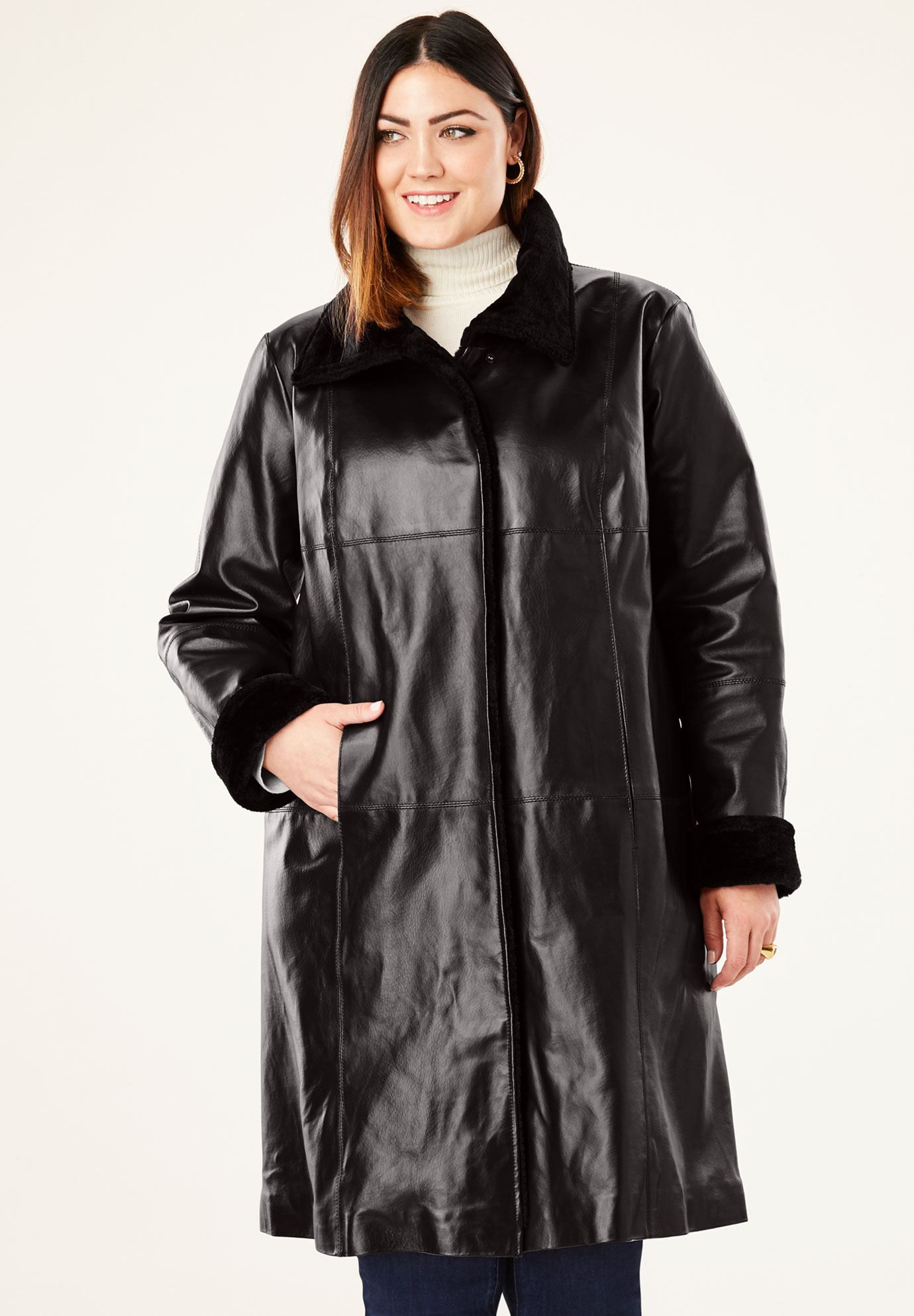 FurTrim Leather Swing Coat, BLACK Plus size leather