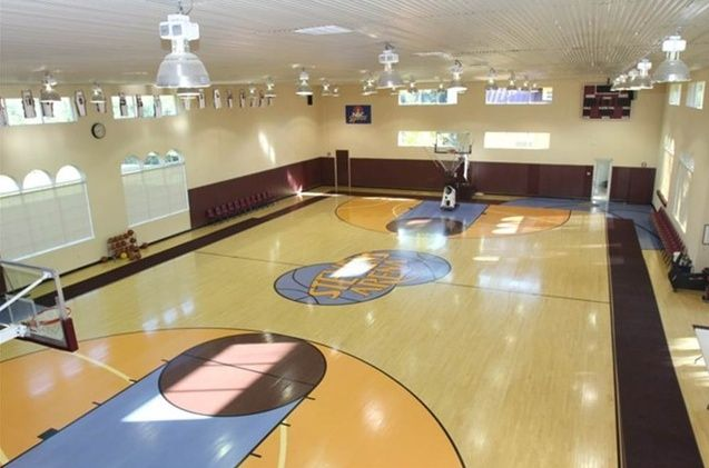 16 homes with basketball courts you can buy now indoor for Buy indoor basketball court
