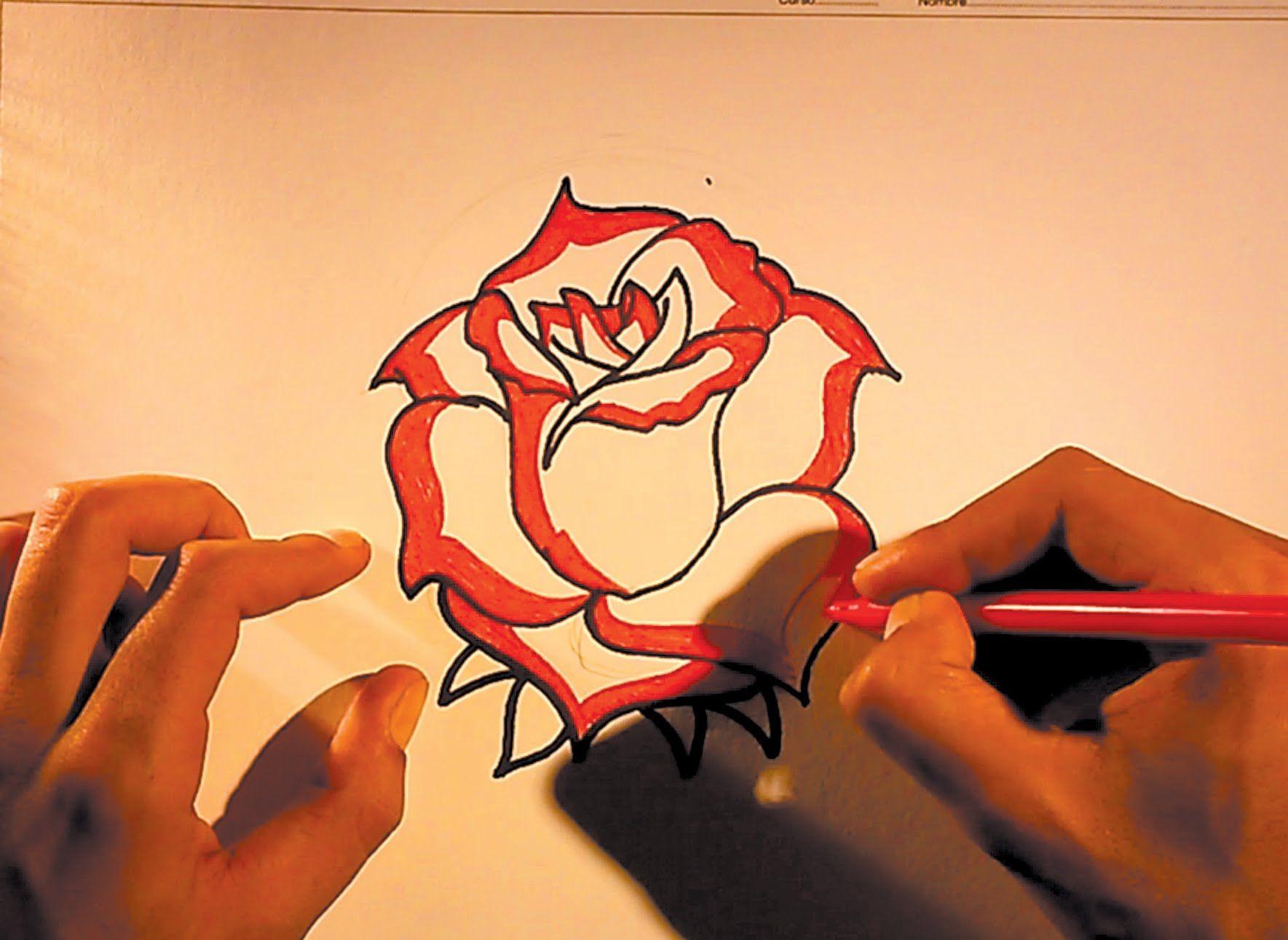 Como dibujar dibujos de flores faciles de hacer  Rosas rojas