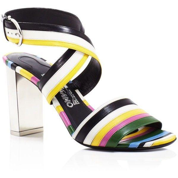 Salvatore Ferragamo Gilli Rainbow Stripe Block Heel Sandals (€865) ❤ liked on Polyvore featuring shoes, sandals, nero, block heel shoes, striped shoes, salvatore ferragamo, heeled sandals and salvatore ferragamo sandals