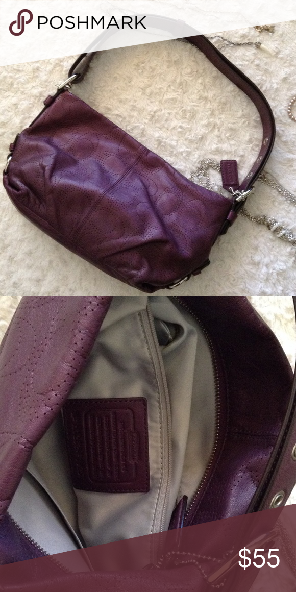 Purple leather coach bag Perfect daily bag, don't need to worry about getting it dirty 😁 Coach Bags