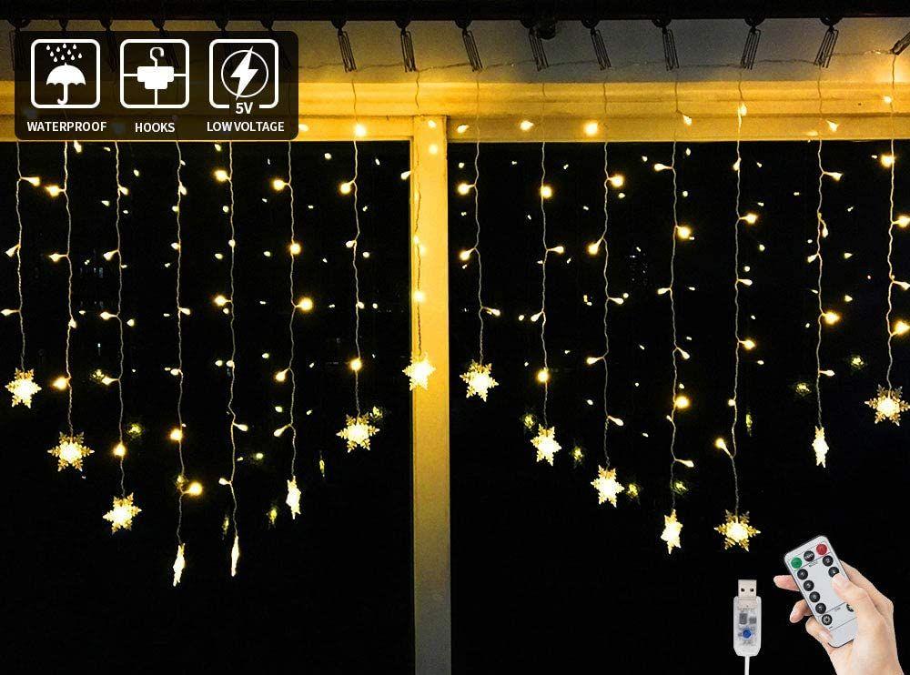 USB LED Licht Lichter vorhang Fernbedienung Weihnachtsbeleuchtung Lichterkette