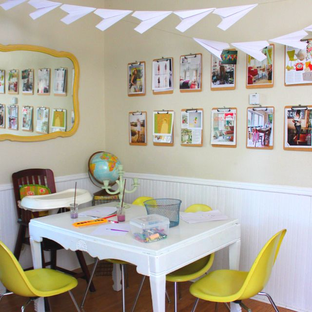 So much groovier than bunting! This fabulous paper airplane garland is a great addition to a room's decor, although I still think it translates better to a child's room or nursery. Take the dining table away and this room could easily be an eclectic playroom or bedroom! From the blog: abeautifulmess.typepad.com
