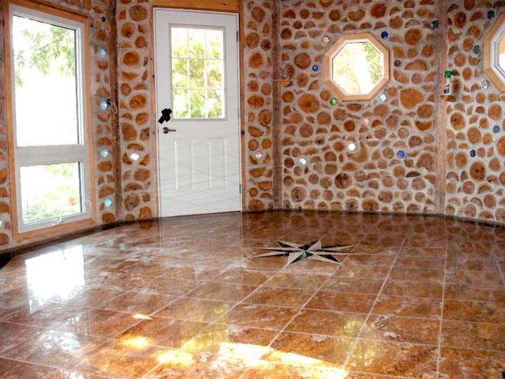 cordwood wall construction with bottles | house inspiration ...