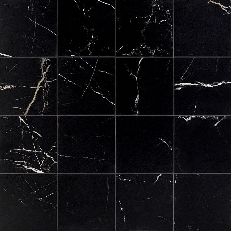 Marble Tech Port Laurent 6x6 Matte Nero Marquina Look Porcelain Tile Porcelain Tile Black Marble Tile Marble