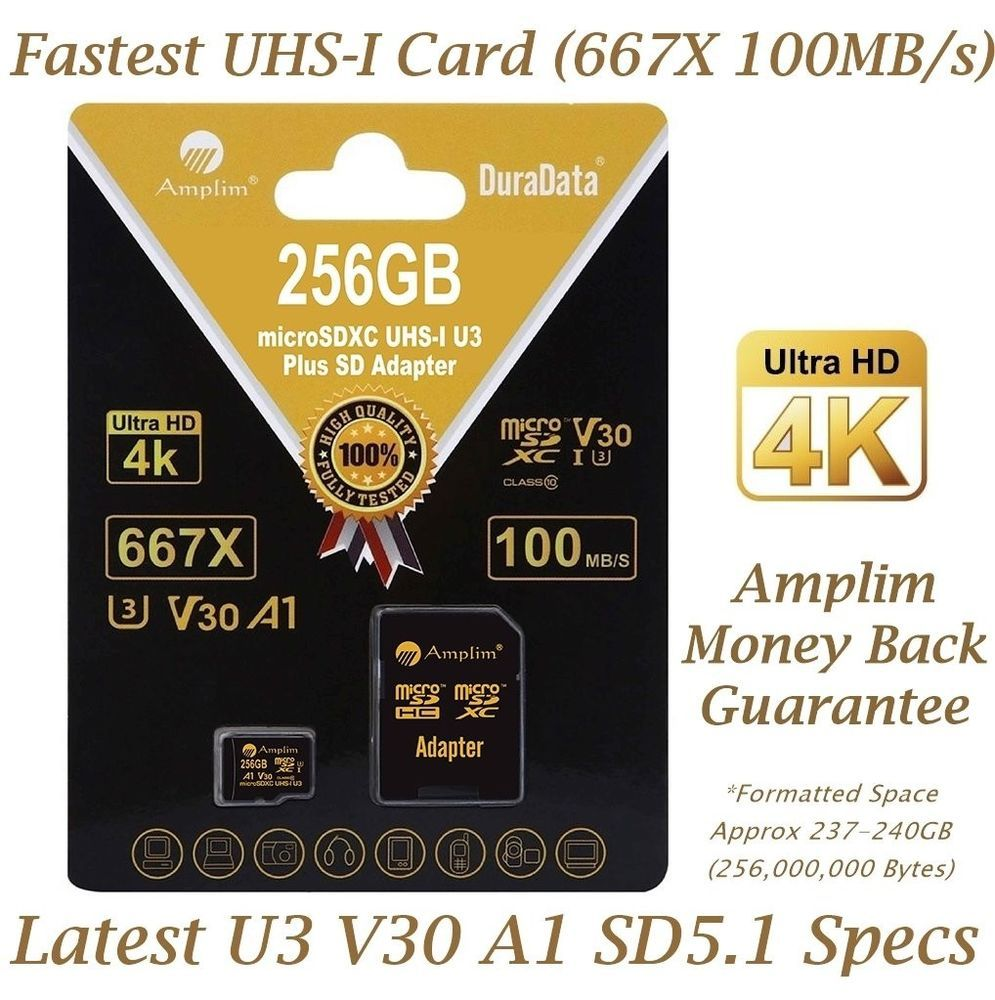 fefadf89a 256GB Micro SD SDXC V30 A1 Memory Card Plus Adapter Pack (Class 10 U3 UHS-I  Micr  Huawei