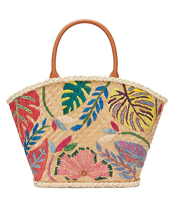 Tropical and charming: Our Leaf-Appliqué Straw Tote is a new warm ...