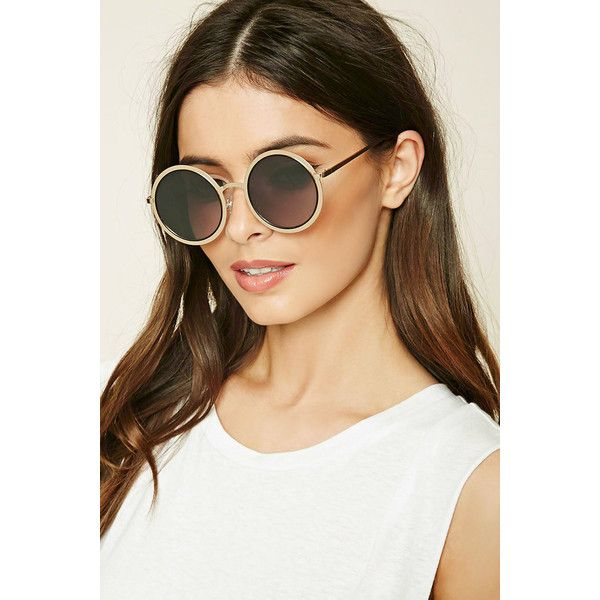 Forever 21 Metal Round Sunglasses (32 BRL) ❤ liked on Polyvore featuring accessories, eyewear, sunglasses, round metal glasses, round metal frame glasses, rounded glasses, round frame sunglasses and lens glasses
