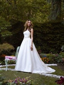 Ellie by Robert Bullock Bride - Strapless drop waist Faille Ball Gown with satin covered buttons and satin waistband.