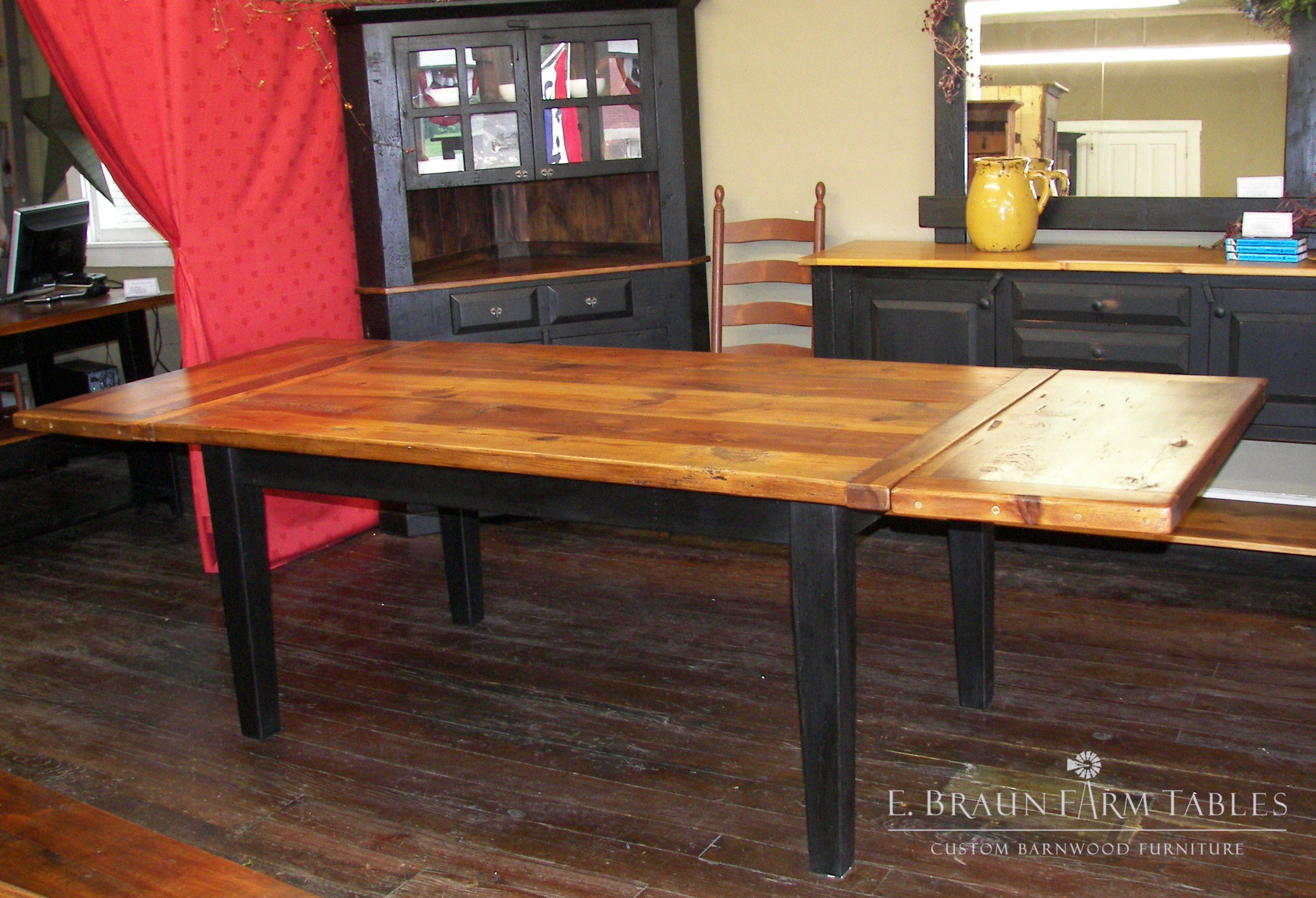 Reclaimed yellow pine table with company board extensions pretty