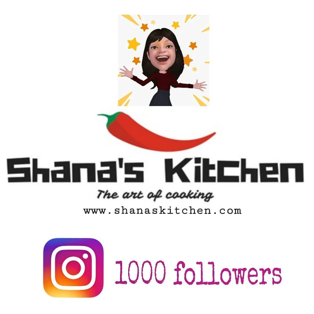 I'm so excited to have 1000 followers in less than 3 months. Thank you 1000 times to all my followers.  #1000followers #reached1kfollowers #1kfollowers #thankyouforfollowingme #foodbloggers #recipeblog #recipeblogger #recipepage #recipes #shanaskitchenrecipes #recipedeveloper  #easyrecipes #recipes #srilankanfood #indianfood #desertrecipes #foodie #londonfoodie #melbournefoodie #canadafoodie