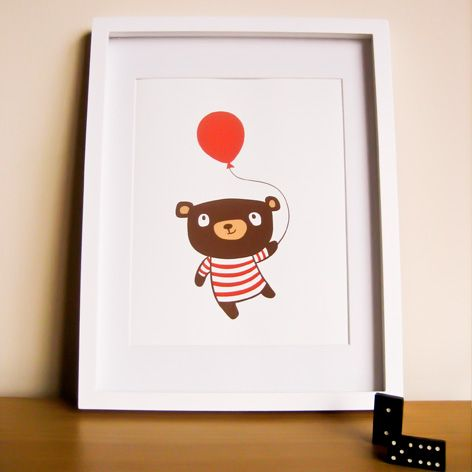 Birthday Bear - 8 x 10 Art Print