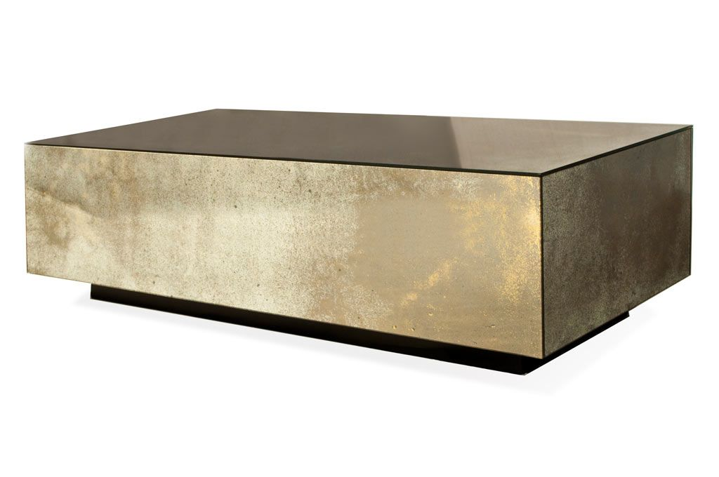 U0027Sophieu0027 Floating Cube Coffee Table : Bradley Heavy Burnished Gold Antiqued  Mirror. U0027