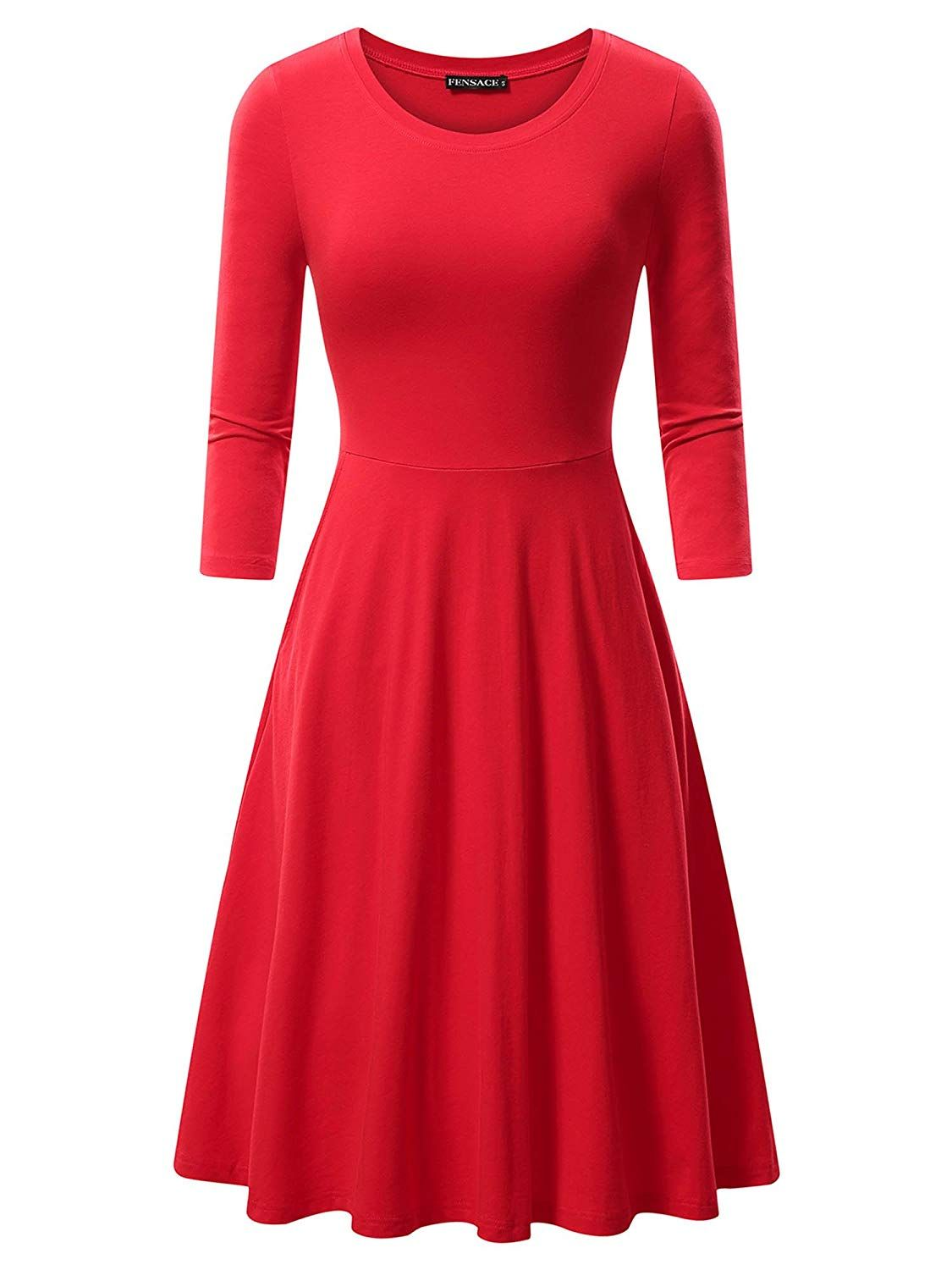 Fensace With Pockets Womens 3 4 Sleeves Casual A Line Cotton Midi Dress More Information Can Be Loca Midi Swing Dress Cotton Midi Dress Retro Swing Dresses [ 1500 x 1125 Pixel ]