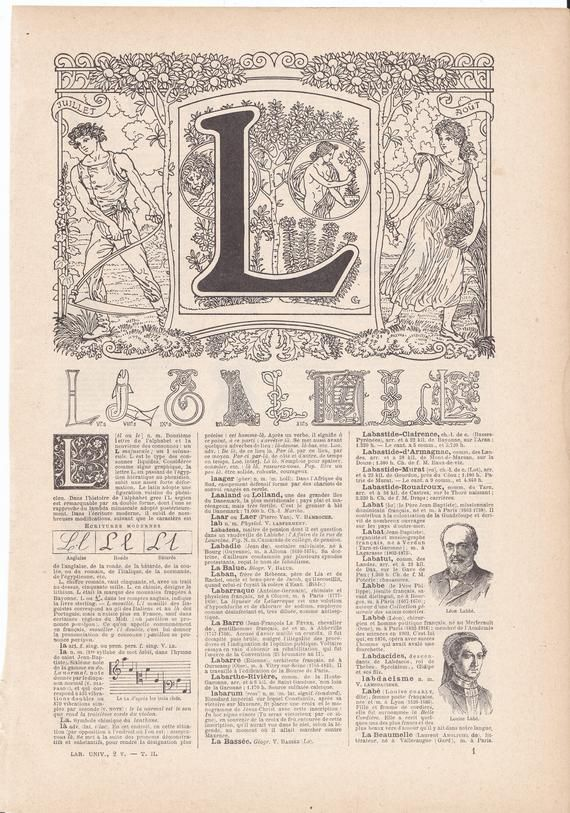 Original French Alphabet Letter L Lithograph from LAROUSSE Nouveau Larousse illustré Paris Edition 1