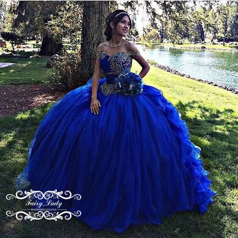 eb7750c5dc0a Cinderella Puffy Ball Gown Royal Blue Quinceanera Dresses 2018 Appliques  Beads Off The Shoulder Sweet 16 Dress Pageant Prom Gowns