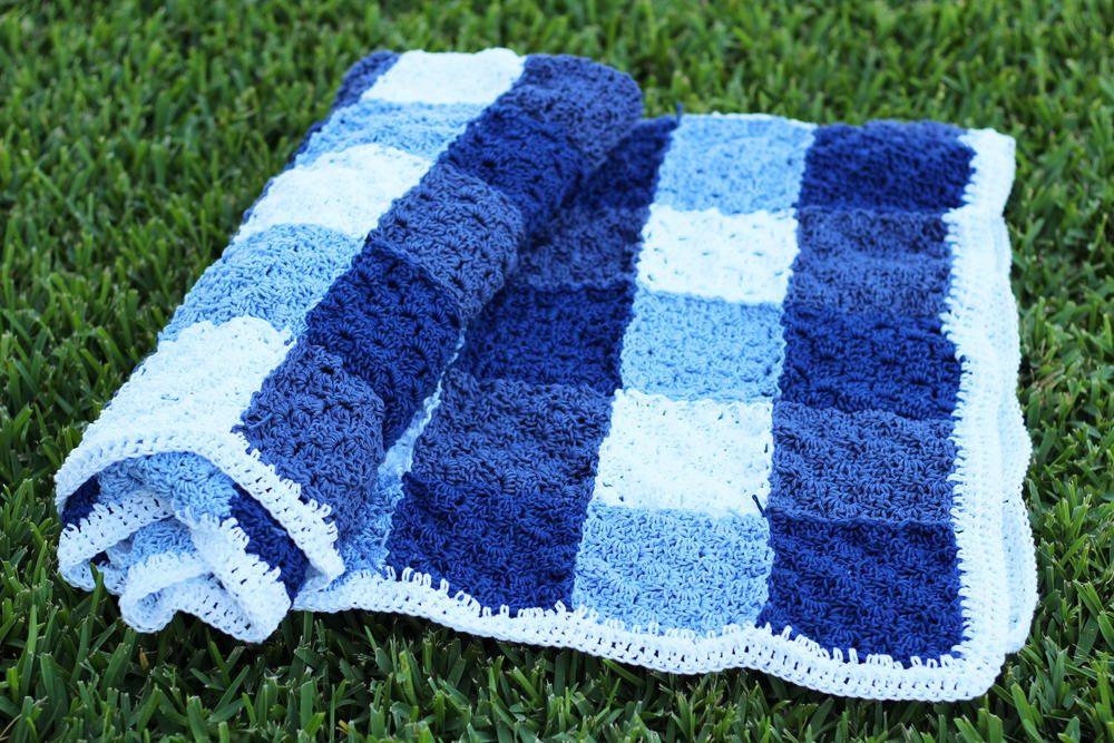 Crochet Gingham Picnic Blanket Afghan