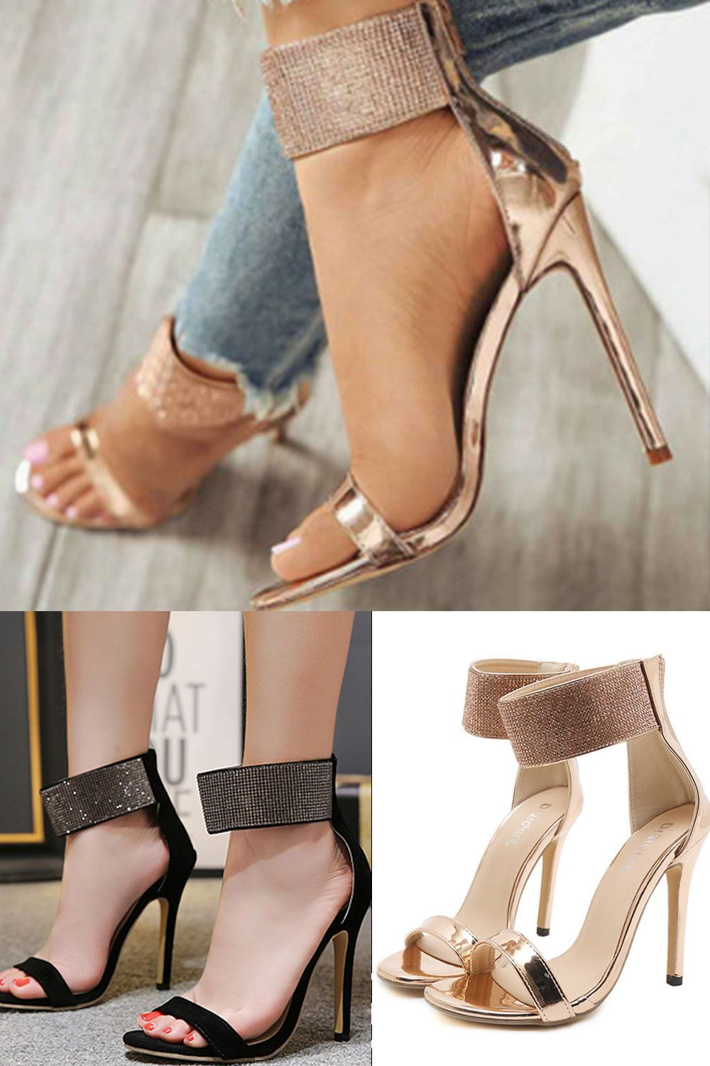 Open Toe Stiletto Heel Lace-Up Ankle Strap Sexy Sandals