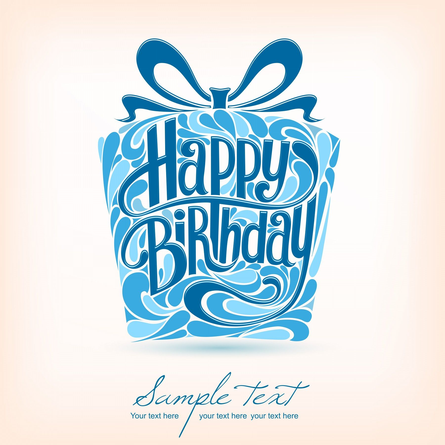 Happy Birthday Blue Font Birthday Card Design Art