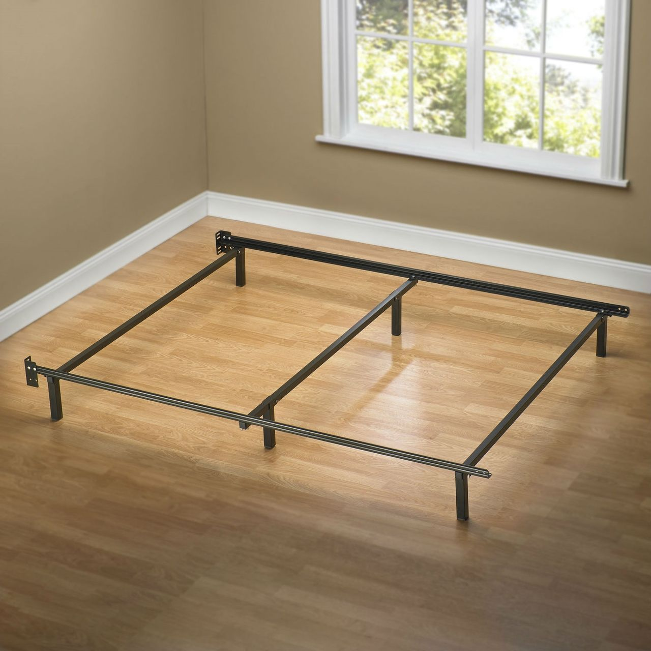 Queen Size 6 Leg Metal Bed Frame With Headboard Brackets Quality