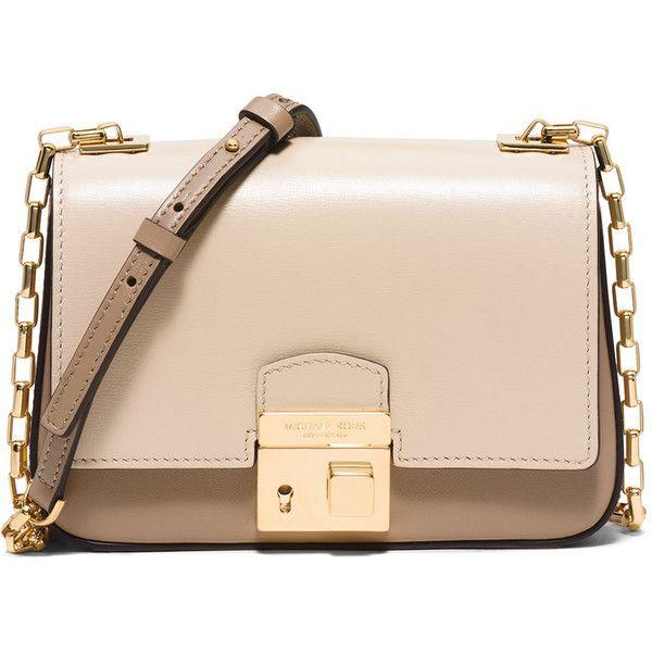 6de80c4e6e1c Michael Kors Collection Gia Small Chain-Strap Flap Bag ($540) ❤ liked on  Polyvore featuring bags, handbags, shoulder bags, bolsas, dune, beige  handbags, ...
