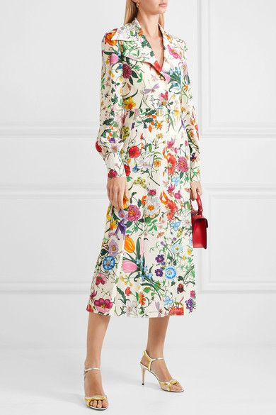 85e7b8c26 Gucci - Pleated Floral-print Silk Crepe De Chine Dress - Ivory ...