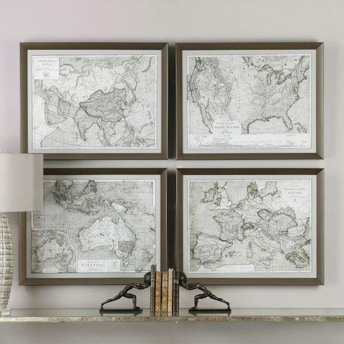 World maps framed wall art 4 piece set decor pinterest map world maps framed wall art 4 piece set gumiabroncs Gallery