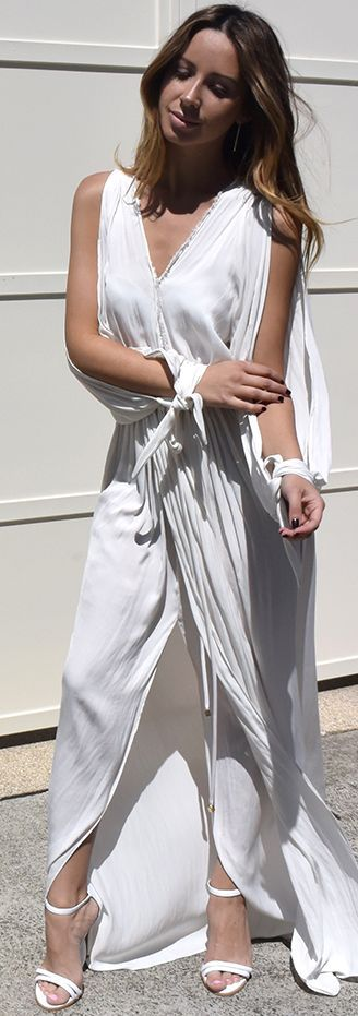 White Drape Maxi Dress Fall Streetstyle Inspo by Friend In Fashion