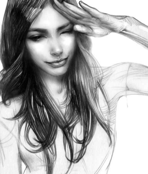 Прикольные картинки на аватарку для девушек брюнеток карандашом
