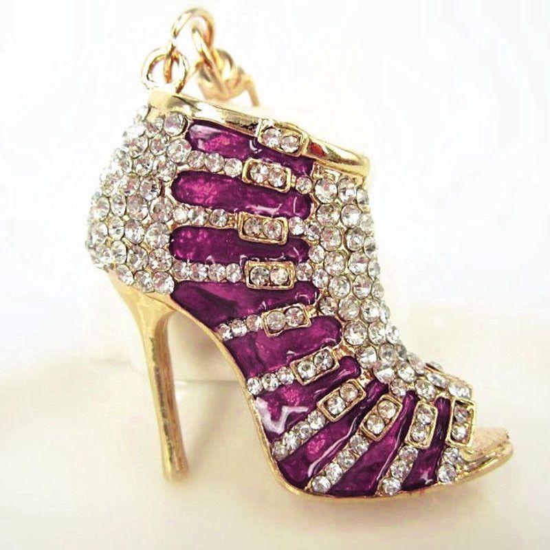 Beautiful Crystal High Heel Rhinestone Key Ring  Purse Charm  98fb1ad839f5