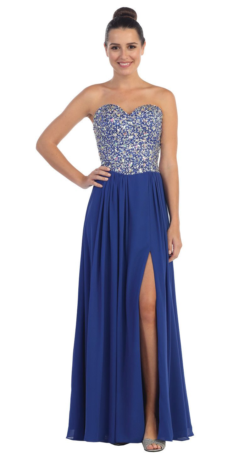 Starbox usa l encrusted bodice chiffon off white strapless prom
