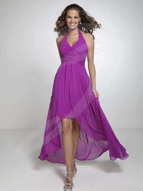 Jacquelin Bridals Canada - 22532 - Bridesmaids - This bridesmaid dress features a halter sweetheart neckline, pleated cummerbund short sheath skirt with long A-line overlay.