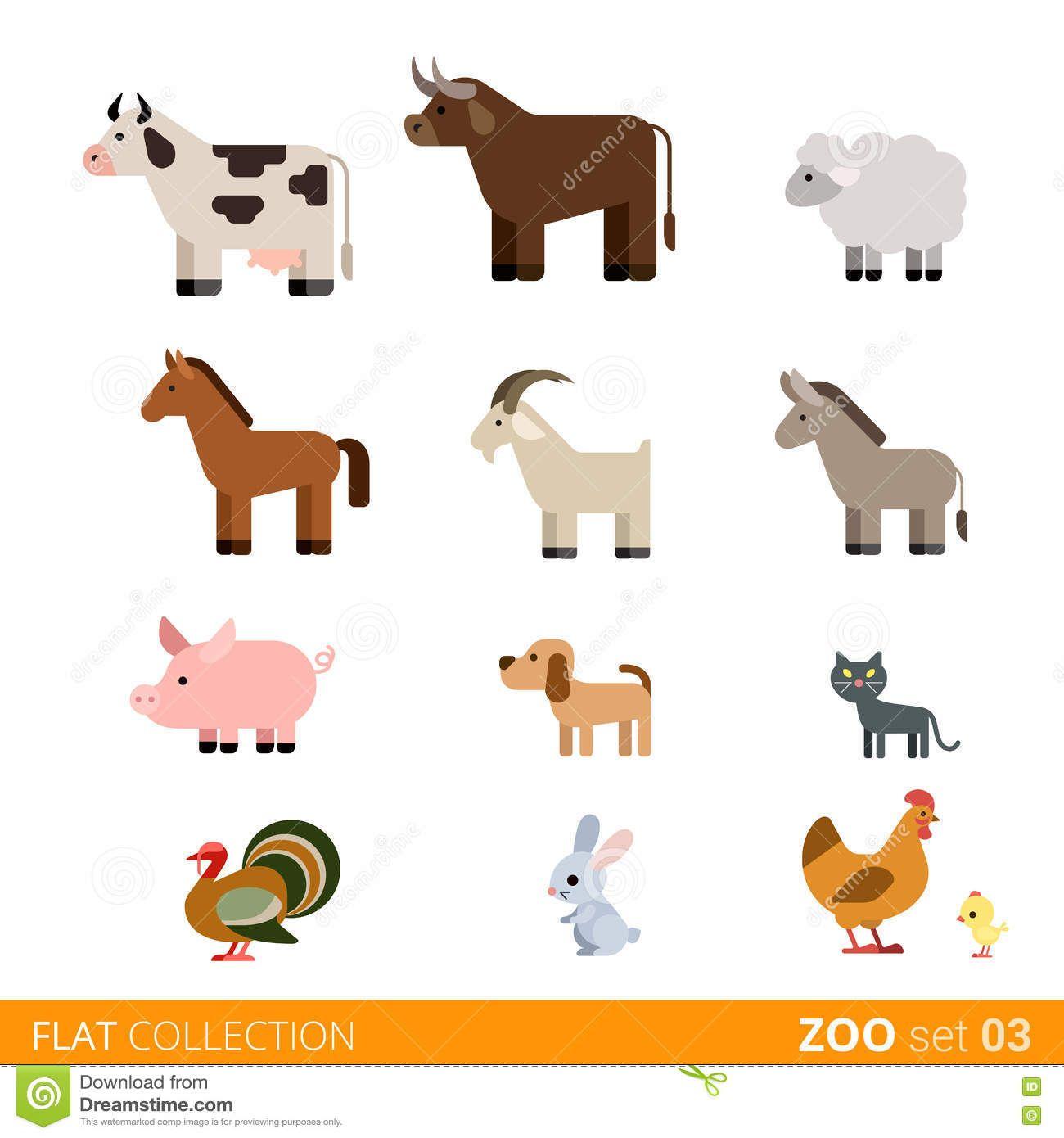 Flat Vector Icon Wild Farm Domestic Animal Cartoon Stock