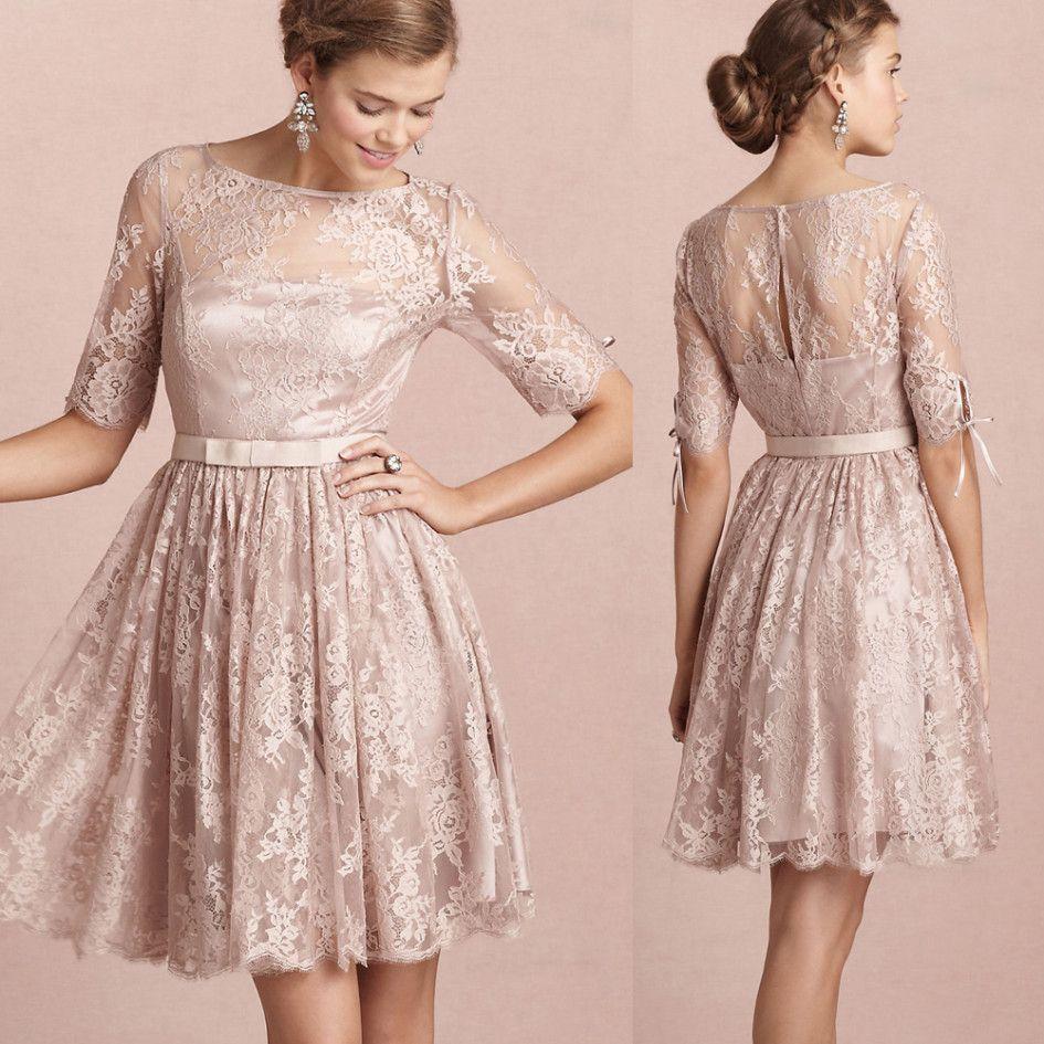 Wedding Dresses Ideas, Ribbon Belt Half Sleeves Knee Length Lace ...