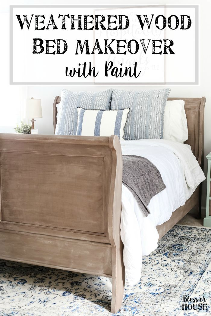 painted weathered wood bed makeover getting crafty diy rh pinterest com