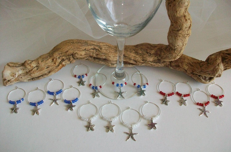 Nautical Beach Theme Patriotic Red White Blue Starfish Wine Glass ...