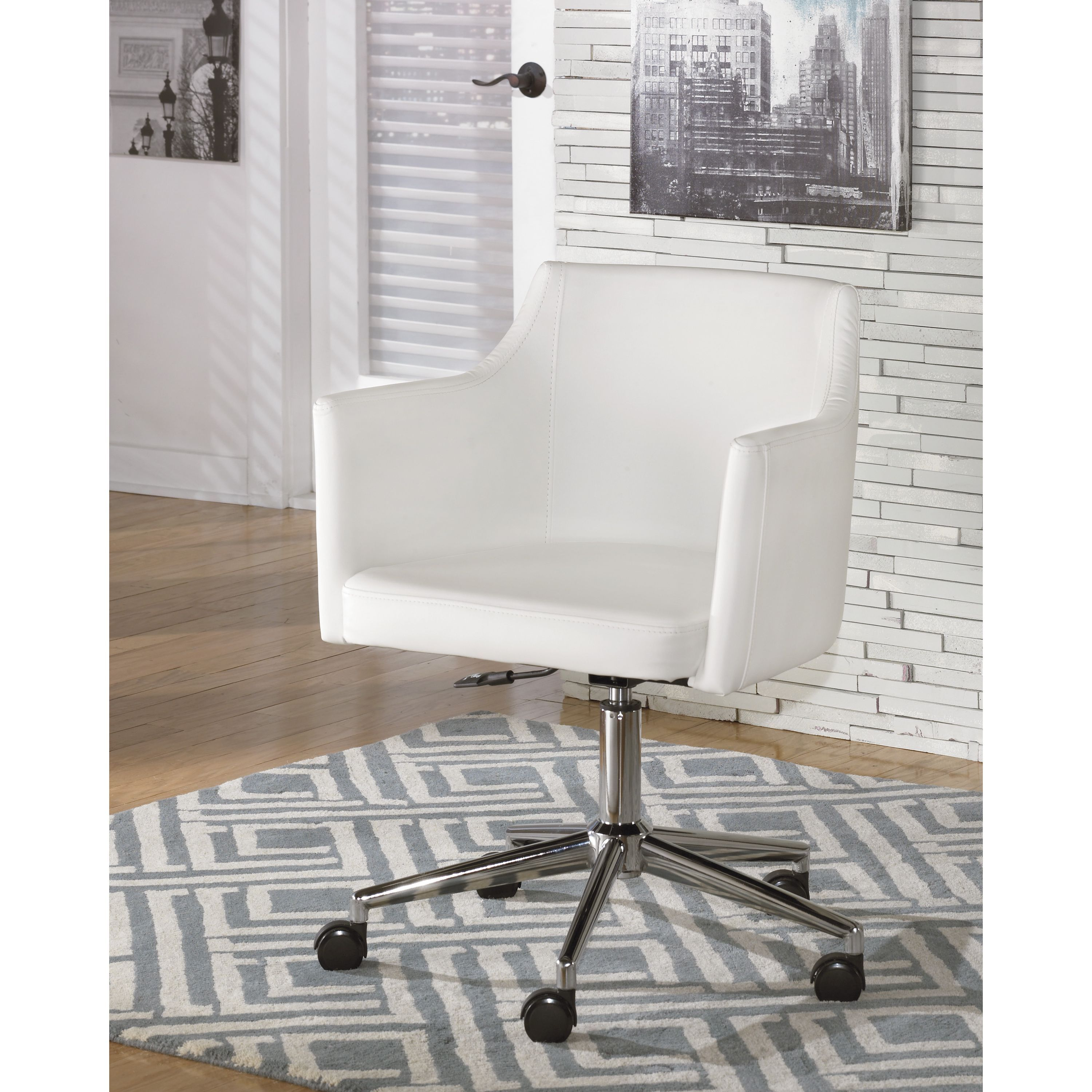 pvc home office chair floor. $174 Create A Modern Look With This Sleek White Upholstered Office Chair. The PVC Upholstery, Chrome Colored Metal Base And Adjustable Height Add Comfort To Pvc Home Chair Floor