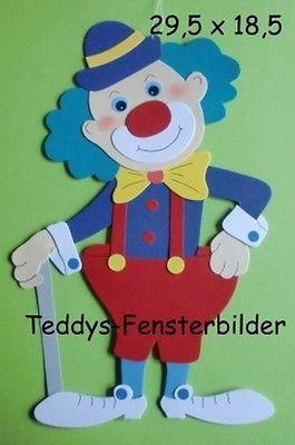 Teddys Fensterbilder 15 Clown Mit Stock Tonkarton Palhaços