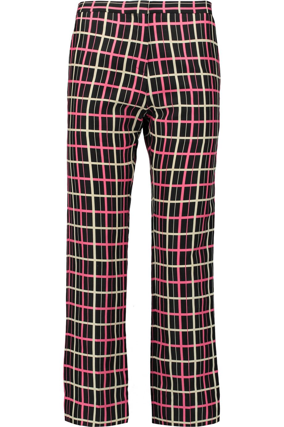 Cropped Floral-print Silk-crepe Slim-leg Pants - Burgundy Marni XmPQsfxe7