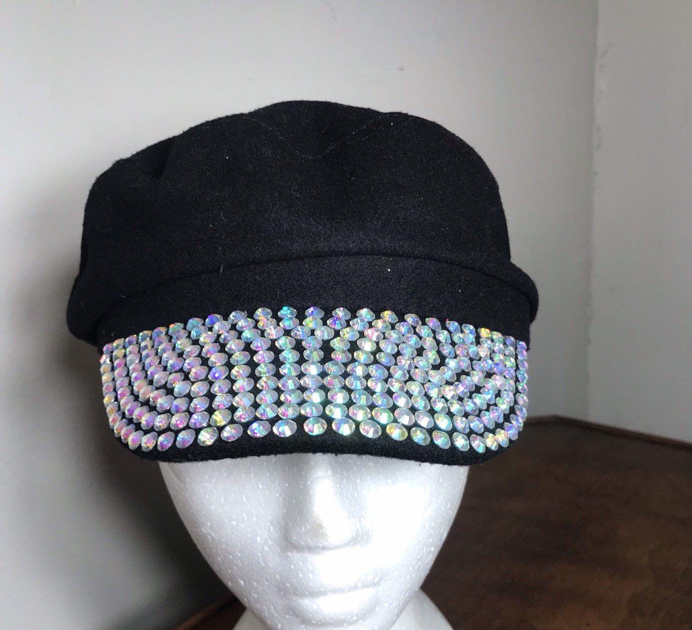 Black wool blend cap hat with clear resin rhinestone